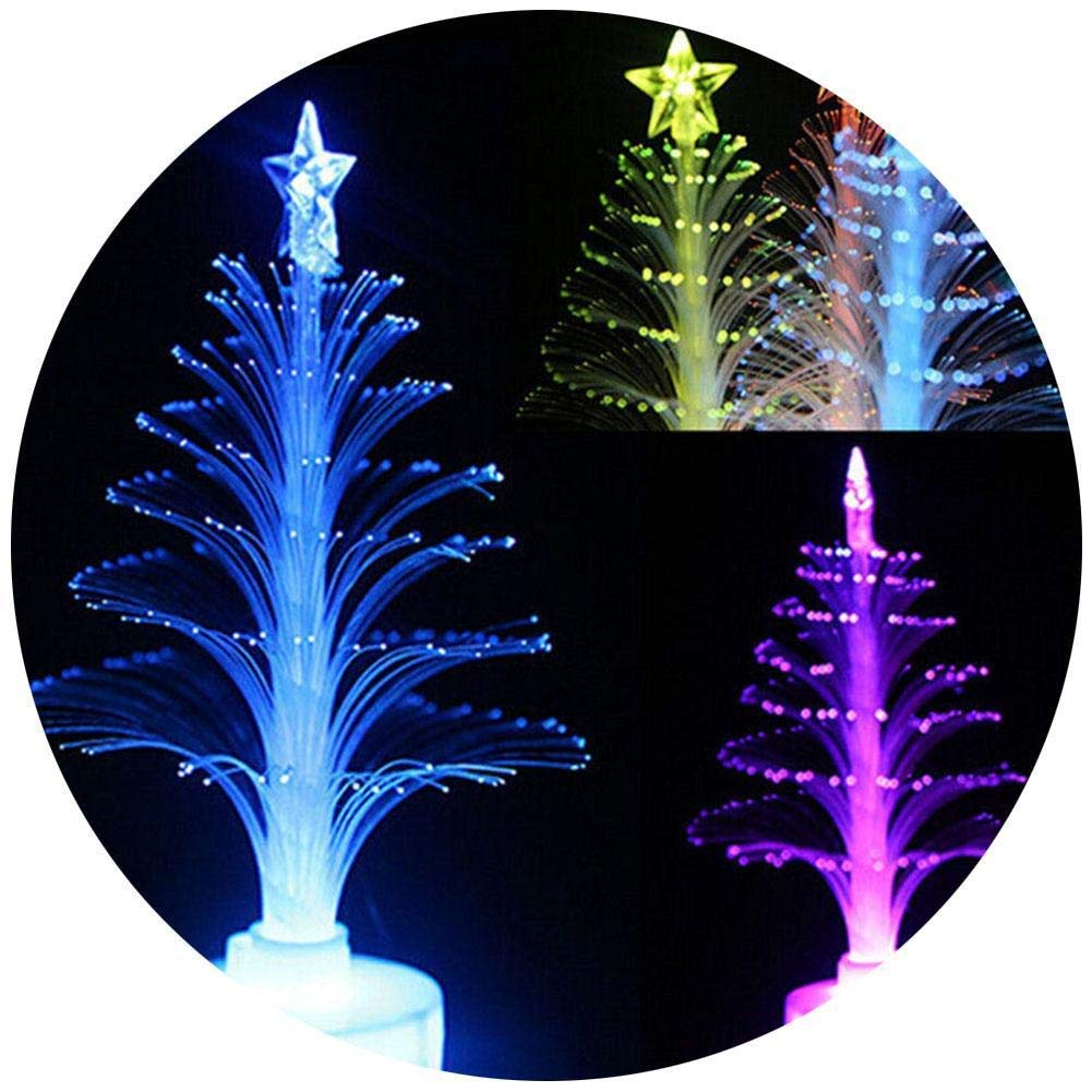 quan di 3 Pieces Color Changing Mini Christmas Tree LED Light Lamp for Home Party Decoration