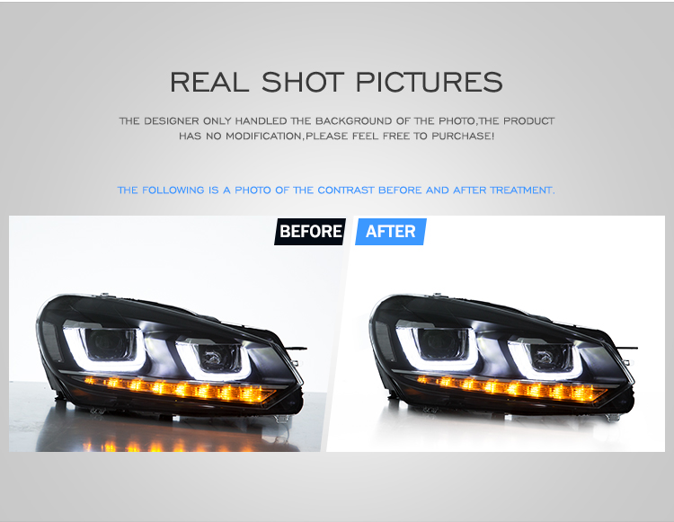 VLAND wholesales sequential  head lamp 2008 -2013  led headlight for vw golf 6 golf mk6