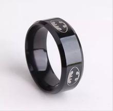 2015  Boys Men Black Batman Symbol Titanium Stainless Steel Rings For Men Women Party Free shipping