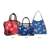 factory direct sale denim leather embroidery rose flower handbag