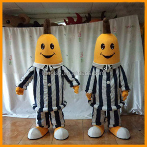 HI CE funny fancy dress banana in pajamas mascot costume for adult,professional fruit mascot costume made in China