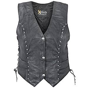 Xelement Womens XS-628 Studded Biker Leather Vest - Medium