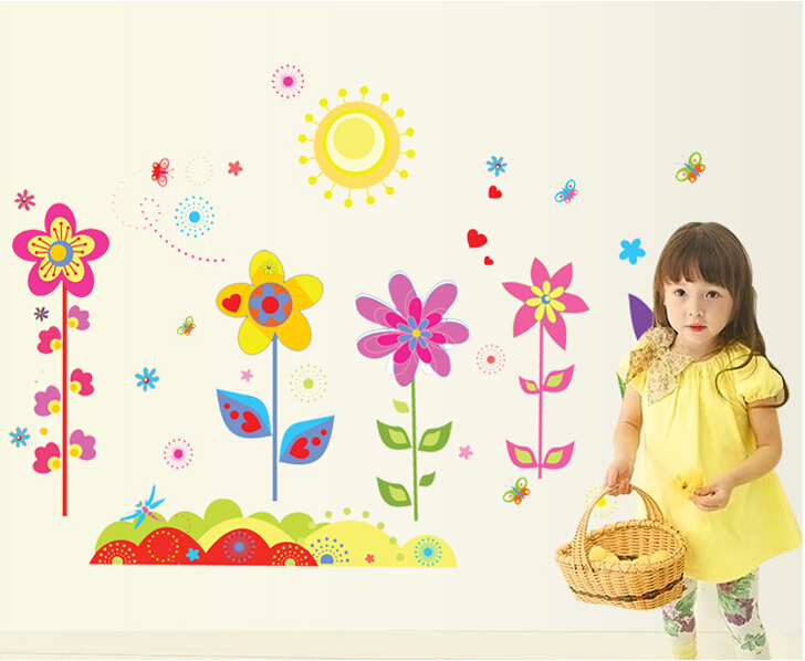 Garden Flowers Baby Nursery Peel & Stick Wall Sticker Decals Flower Wall Stickers