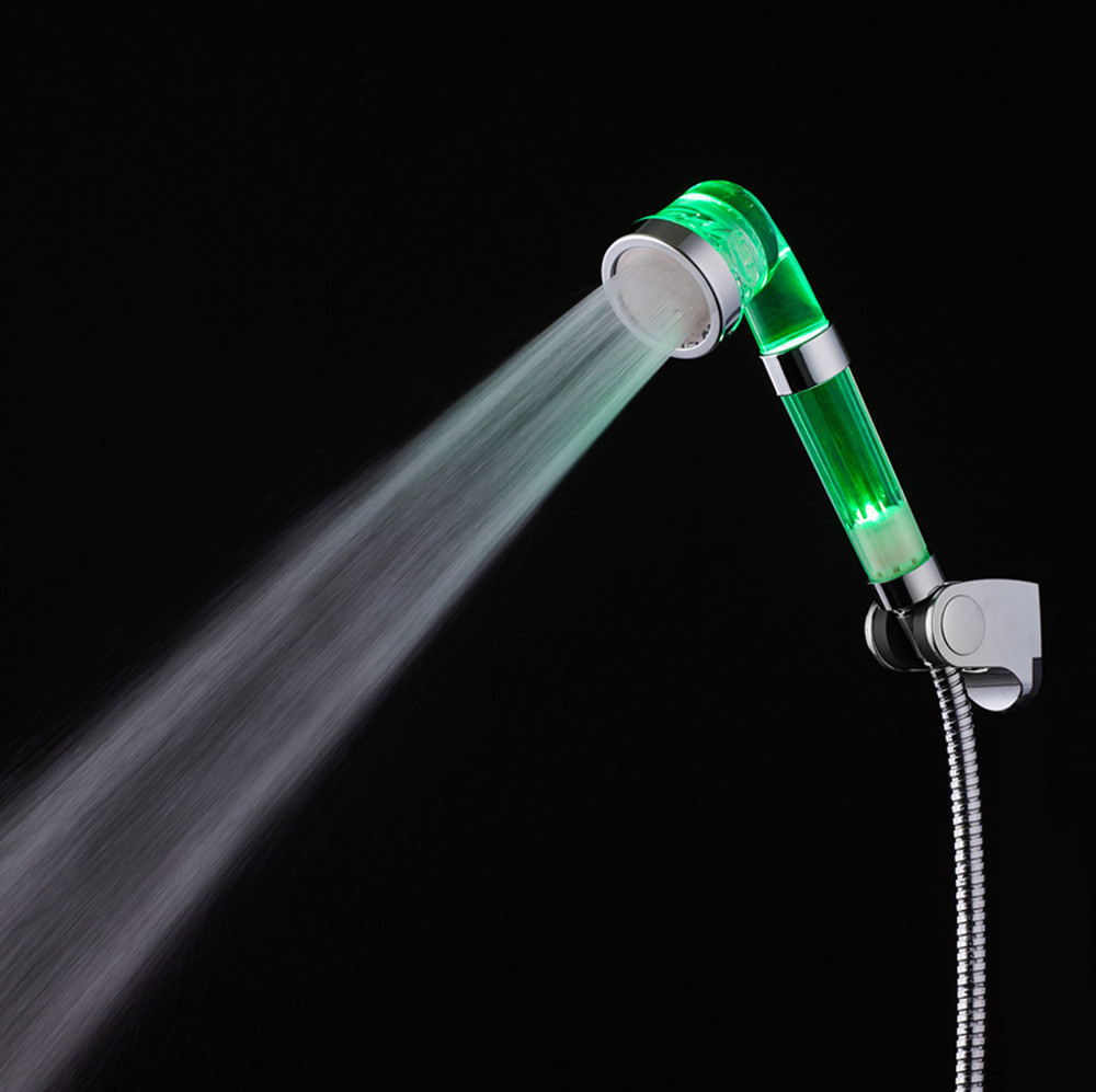 enhance pressure shower head saving water LED color change with temperature