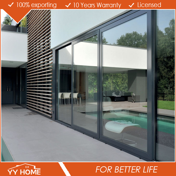 Aluminum frame 3 panel sliding glass door,air tight sliding door,warehouse sliding door