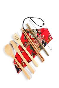 Biologisch abbaubar Bambus holz Besteck/Camping Gabel Messer Löffel Set