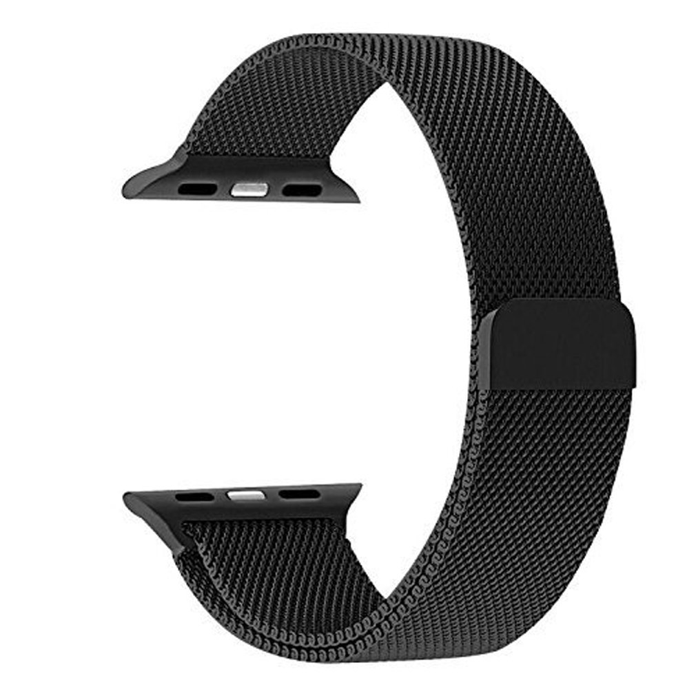 38mm Apple Watch Band Milanese Loop Stainless Steel Bracelet Smart Watch Strap for IWatch 38mm All Models with Unique Magnet Lock, No Buckle Needed SILVER (black)