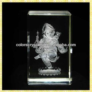 3D Laser Engraved Ganesha Crystal Wedding Return Gifts For Indian Guest Souvenirs