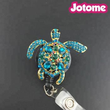 Yeşil Deniz Kaplumbağası Bling Yaka Kartı Tutucu Makara Kaplumbağa