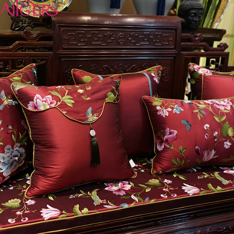 Avigers China New Design Fancy Wooden Sofa Chair Red Embroidered Cushion Pillow Cover Fabric Decorative Set