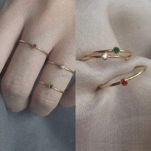 Cheap price wholesale simple colored stone stackable rings good quality 14k gold filled ring settings
