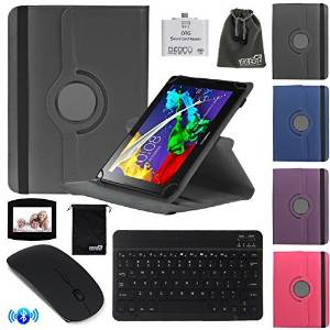 EEEKit 4-in-1 Office Kit for Lenovo Tab 2 A10 10-Inch 16 GB Tablet, 360 Degree Rotating Flip Stand Case Cover + Wireless Bluetooth Keyboard/Mouse + OTG Card Reader Adapter + Mouse Pad + EEEKit Pouch(Samsung Tab A 9.7, Blue)