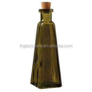 6 oz Green Glass Pyramid Bottles with Cork Cap