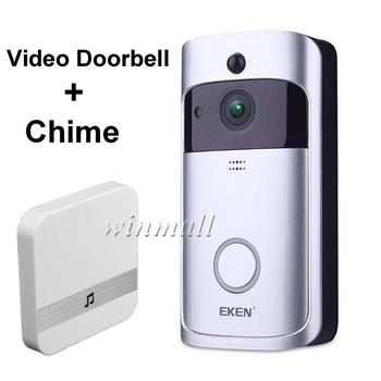 EKEN Smart Video Doorbell V5 + indoor Chime 720P Wifi Security Camera Real-Time Night Vision, PIR Motion Detection APP Control