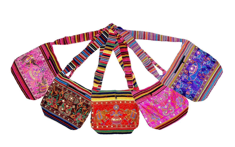Cotton Bohemian Bag Wholesale Bulk Lot Indian 5 PCS Boho Jhola Ethnic Hippie Cross Body Bohemian Bag Set.BFSD-01