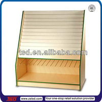 TSD-W301 custom wooden greeting card display stand/retail store wood display shelf/greeting card display rack