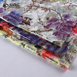 New products knitting polyester printed thin stretch hologram foil floral lycra fabric