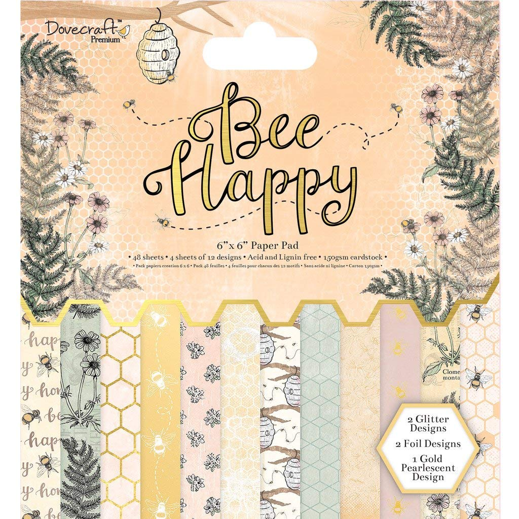 "Dovecraft Premium Bee Happy Paper Craft Collection - 6x6"" Paper Pad"