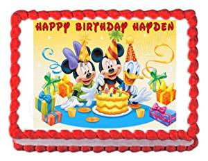 Buy Mickey Mouse Birthday Party Edible Cake Image Cake Topper