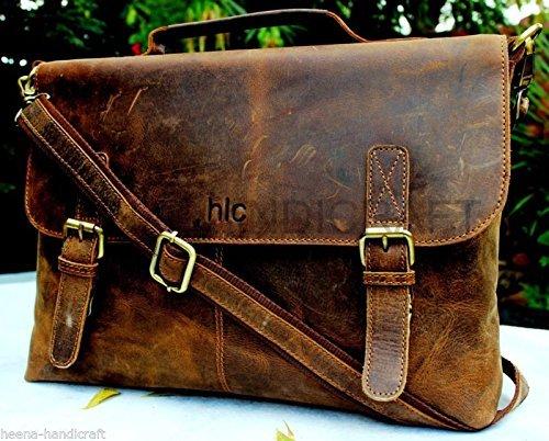 Get Quotations · Handolederco. 15 Inch Retro Buffalo Hunter Leather Laptop  Messenger Bag Office Briefcase College Bag bb4427517c