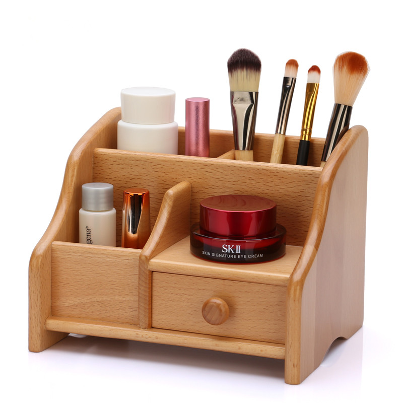 Customized Desk Top Wooden Makeup Organizer Storage Box