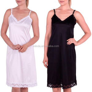 Women Full Slips Nylon Satin V Neck Straight Dress Nightwear Adjustable Strap Lace Full Slip