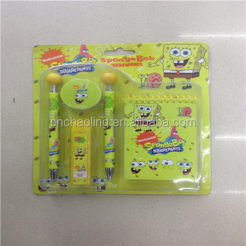 Promotional school kids stationery sets cutely design cartoon mini stationery sets for office/school