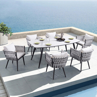Italy Garden Furniture Backyard Restaurant Rope Dining Table and Chair