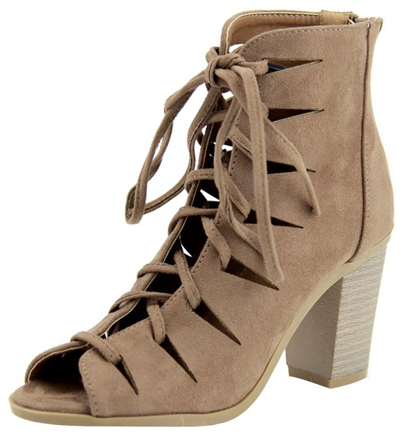 1222538f83 Get Quotations · Bella Marie Women s Caged Cut Out Lace-Up Chunky Stacked Block  Heel Ankle Bootie