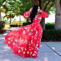 Women's Fashion Bohemian Long Sleeve V Neck Floral Print Maxi Plus Size Dress 11 Colors Beachwear Swimwear