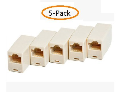RJ45 Coupler,Cat5 Coupler,Cat5 5e 6 Ethernet Cable 8P8C Extender Connector (Female to Female) Straight Modular Inline Coupler,(5-Pack)