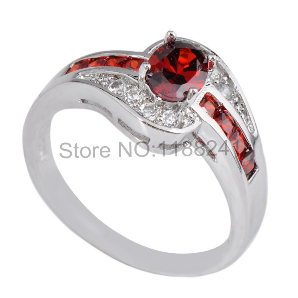 Wholesale 10pcs/lot Ruby Women Fashion Jewelry 10KT White Gold Filled AAA Zircon Stone Size 6/7/8/9/10 Wedding Rings NEW RW1025