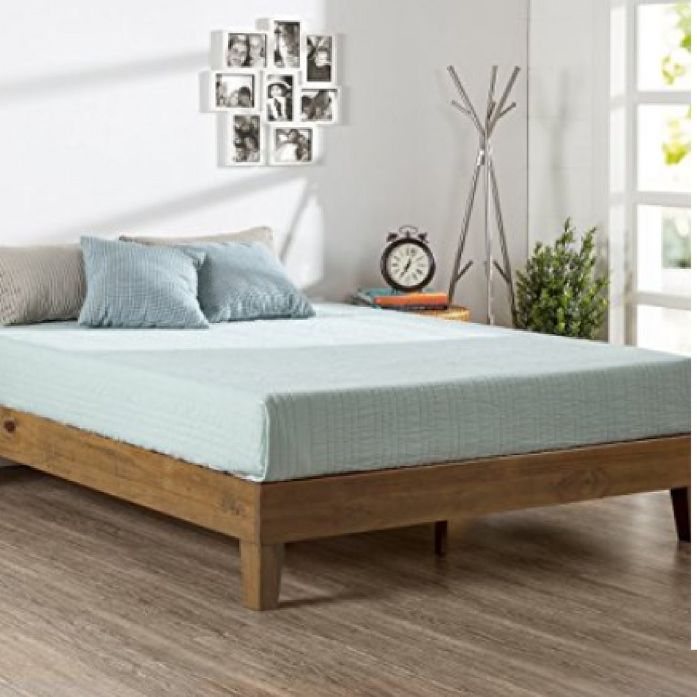 59461f45831e Get Quotations · Queen Size Platform Bed Frame 12 Inch Deluxe No Box Spring  Needed Strong Wood Steel Frame