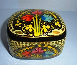 Artcollectibles India Rare KASHMIR HANDPAINTED Jewelry / TRINKET BOX --Christmas Gift