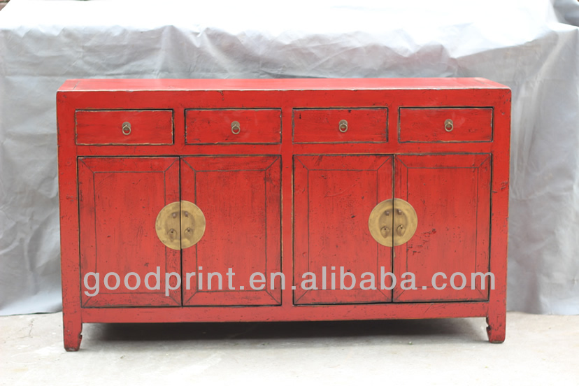 Chinese Antique Four Door FOur Drawer red cabinet