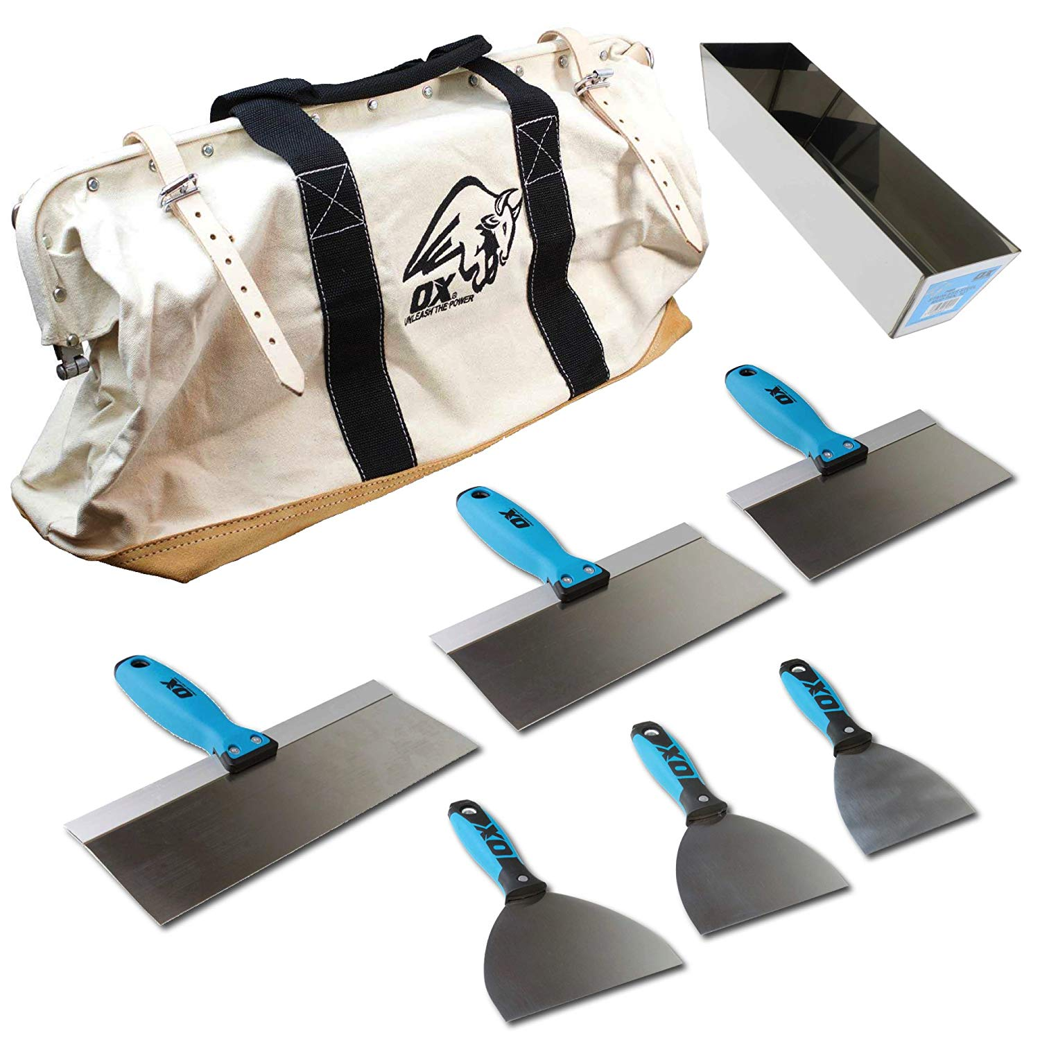 """OX Pro 6-Piece Stainless Steel Drywall Taping Plastering Joint Knife Set PLUS 12"""" Mud Pan and 24"""" Heavy Duty Canvas and Leather Tool Bag"""