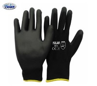 13G Black PU Work Gloves Palm Coated,Working Gloves,Workplace Safety Supplies