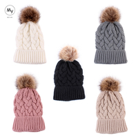 MY Miyar Wool Fabric Beanie Hats with Fur Pom for Women Winter Fashion Jacquard Knitted Hat Women