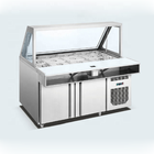 380L Stainless commercial salad pizza bar counter prep table display fridge refrigerator