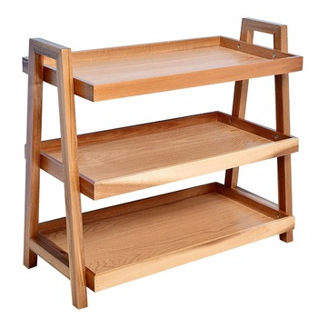 3 Tier Wooden Storage Rack Tray Shelf Side Table For Kitchen Bathroom