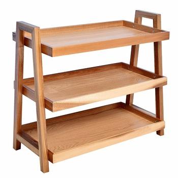Delicieux 3 Tier Wooden Storage Rack Tray Shelf Side Table Storage Shelf For Kitchen  /bathroom