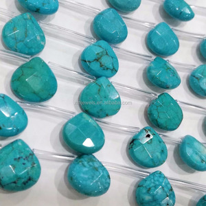 Howlite Turquoise Gemstone Faceted Teardrop Briolette beads Natural