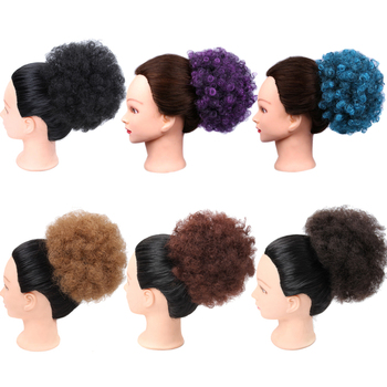 Black Curly Chignon Afro Naturall Hairpiece Bun Drawstring Afro Puff Ponytail Extensions Synthetic Hair Bun Blue Brown