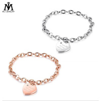 Women Fashion Jewelry Rose Gold Plated Chain Heart Charm Bracelet