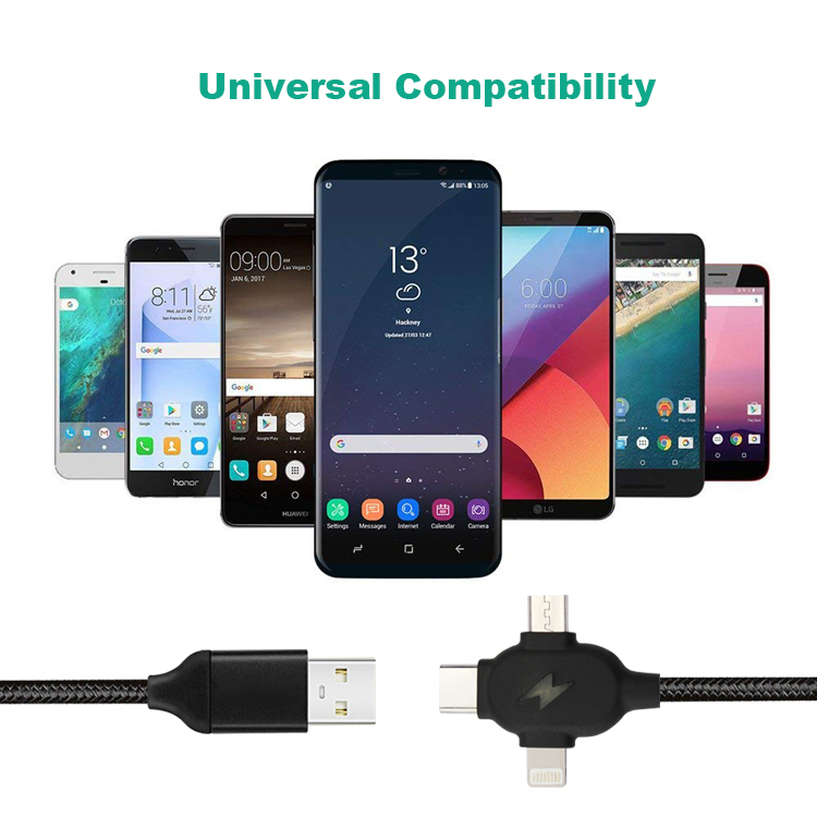Wholesale price 3 in 1 USB A male to M + L + T connector Charging data USB cable 1m