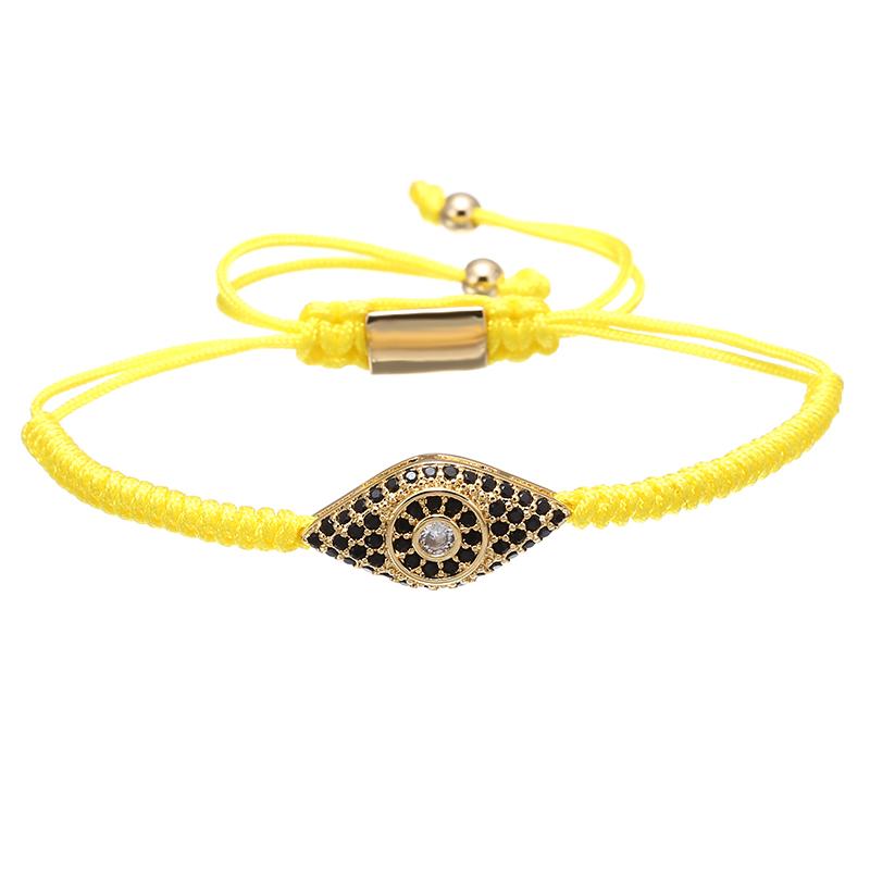 2017 new style design bangles nylon rope braided pendant bracelet evil eye jewelry, Yellow/pink/red/purple