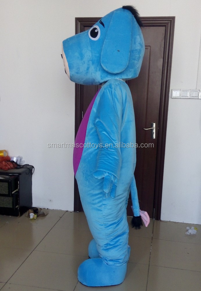 Cartoon soft plush donkey mascot costume for party fit all adult blue donkey mascot costume