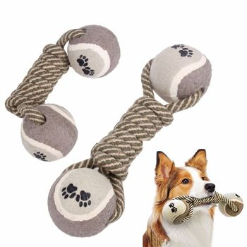 Pet Dog Chew Toys Cotton Rope Dumbbell Tennis Ball For Puppy Teeth Cleaning Training Toy Products