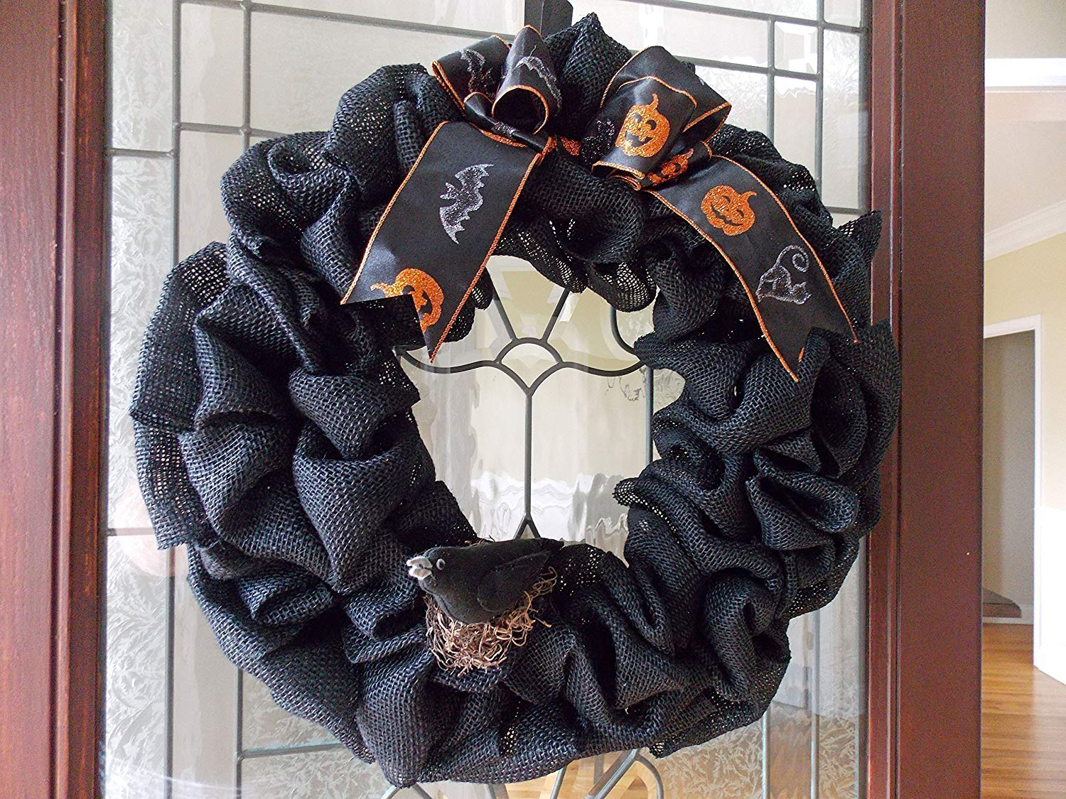 Halloween Wreath-Fall Wreath-Black Wreath-Burlap Wreath-Wreaths for Front Door-Fall Door Decor-Fall Door Wreaths-Crow Wreath