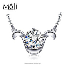 New Arrival Aries White CZ 925 Sterling Silver Pendant Necklace